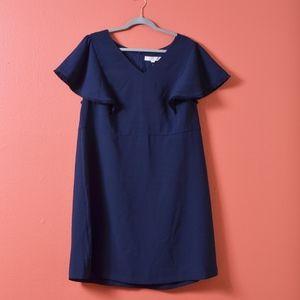 LOFT Women's Blue Plus Fringe Flutter Sheath Dress